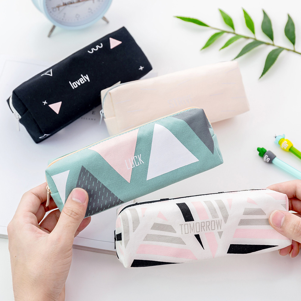 Simple Pencil Pen Case Cosmetic Makeup Bag Storage Pouch Purse Students School Pencil Box Office Stationary Accessories Tool