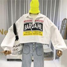 Fashion Cropped Women Hoodies Streetwear Cotton Blend Pullovers  Japanese Turn-down Collar Sweatshirt Womens Pullover