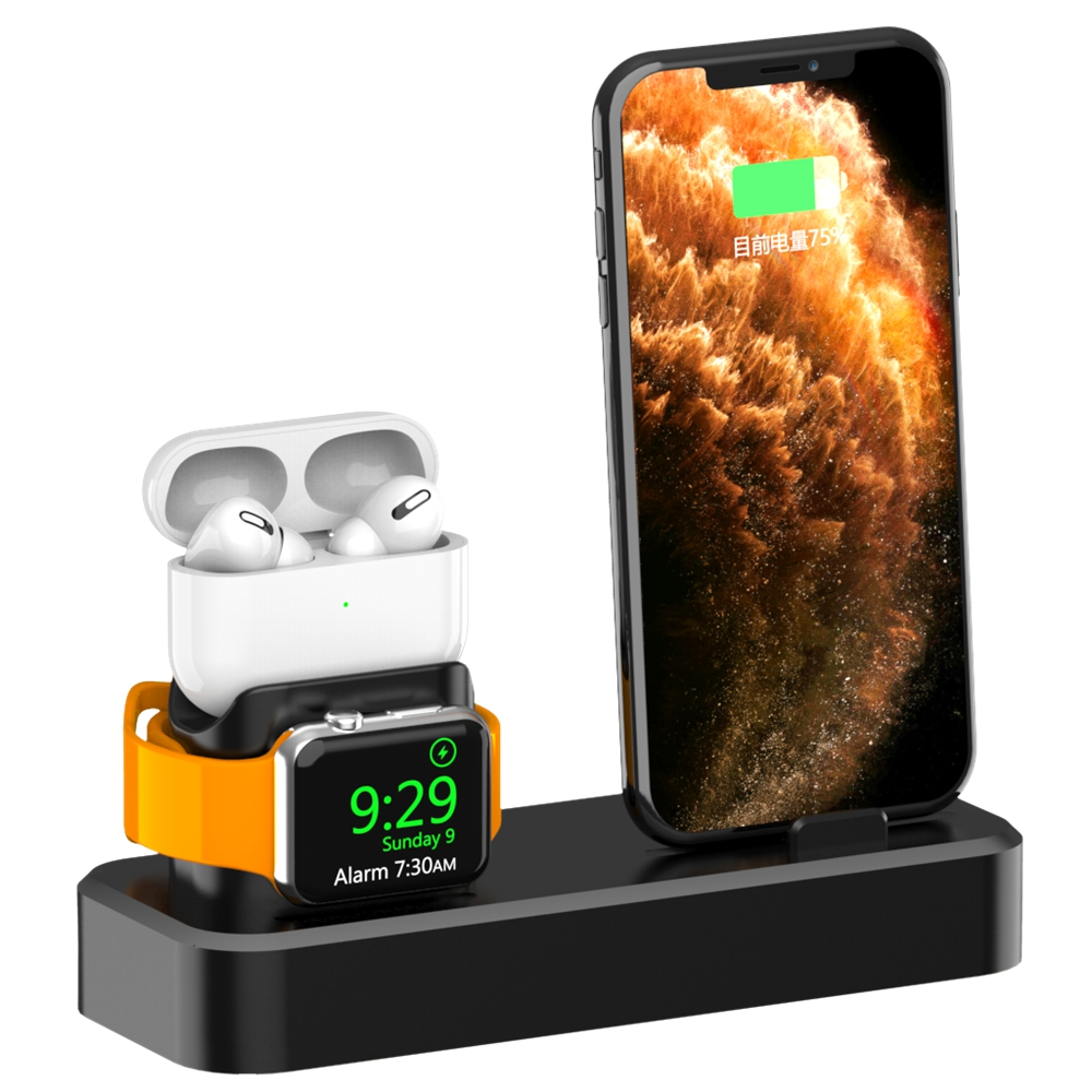 3 In 1 Wireless Charger Stand For Phone 11 IWatch Series 5 Airpods Pro Earphone Silicone Wireless Charging Station Base Dock