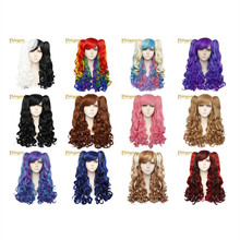 Ebingoo Lolita Long Body Wave High Temperature Fiber Half White and Black Synthetic Cosplay Wigs 2 Ponytail