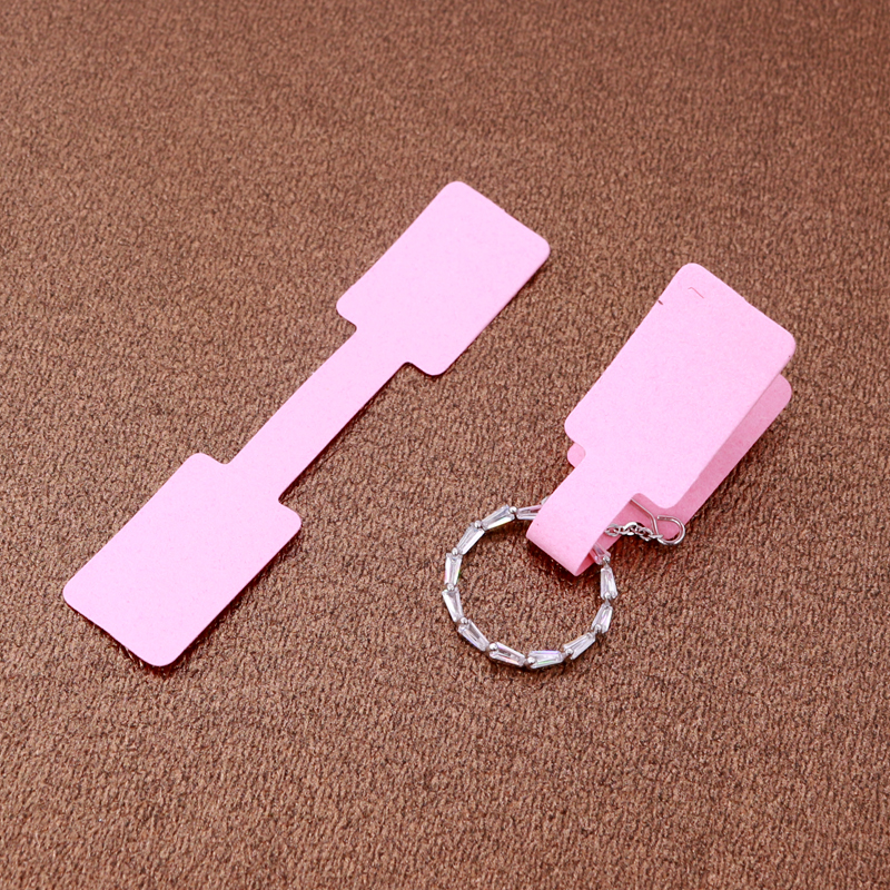 Hotsale 100pcs/lot Pink Paper Jewelry Ring Display Packaging Label Tags 6*1.2cm Rectangle Paper Adhesive Sticker For Rings