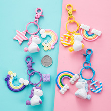 New Fashion Stereo Rainbow Unicorn Keychain Keyring Creative Mobile Phone Bag Car Exquisite Pendant Gift For Friends