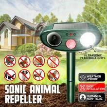 Ultrasonic Solar Animal Repellent (1 Pack), Pest Repeller, Solar Powered Waterproof Outdoor forrepelling Moles, Rats, Snakes