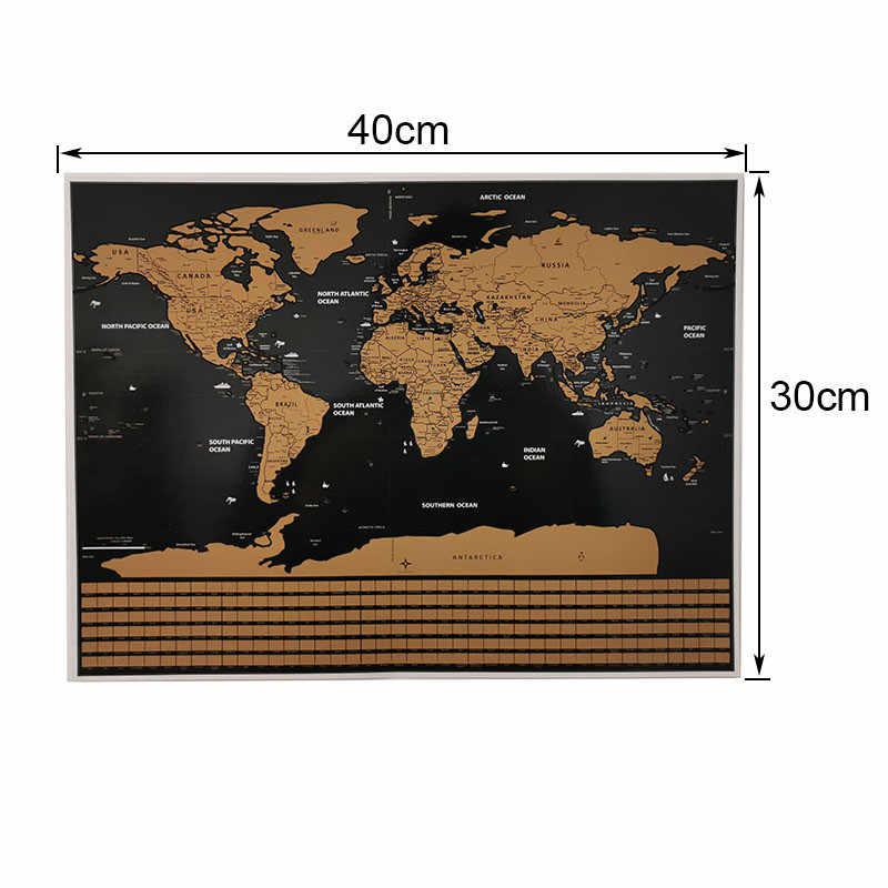 20 unidades de pegatinas decorativas para pared del mapa del mundo 40*30cm versión de la bandera del mapa de arañazos, póster decorativo para equipos de enseñanza de estudiantes