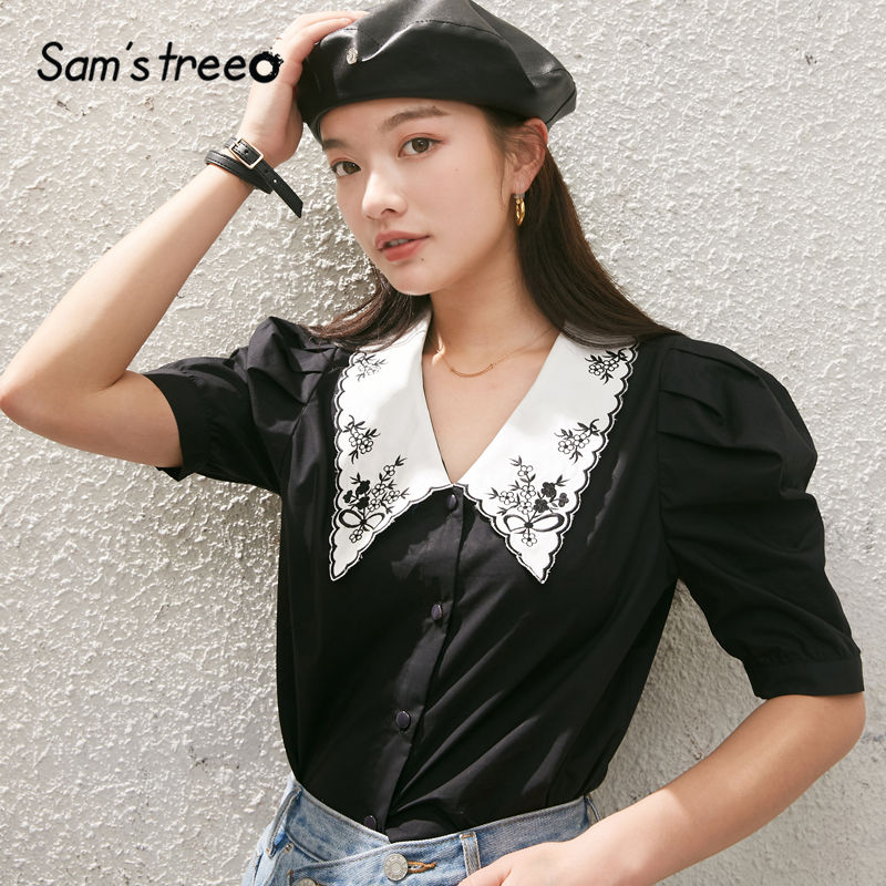 SAM'S TREE Black Solid Floral Embroidery Casual Women Collar Shirts 2020 Summer New White Puff Sleeve Ladies Korean Daily Tops