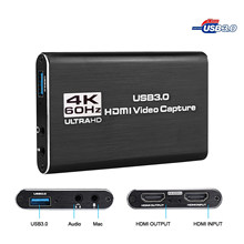 USB Capture USB3.0 HDMI 4K60Hz Video Capture HDMI to USB Video Capture Card Dongle Game Streaming Live Stream Broadcast MICinput