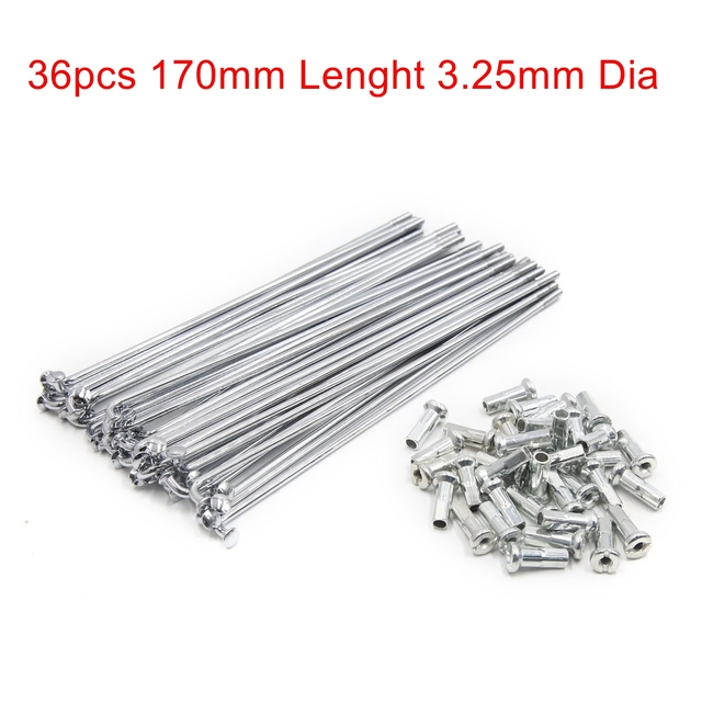 X AUTOHAUX 72 Sets Wheel Plated Spoke 175mm Length 4mm Thread Dia Metal with Nipples Universal for Motorcycle