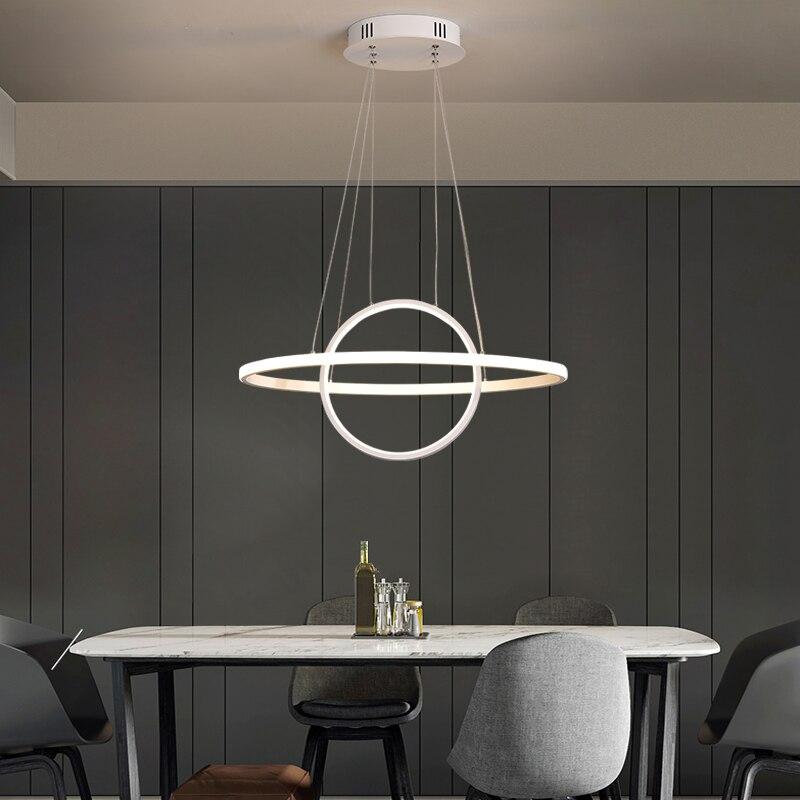 NEO Gleam RC Dimmbare Moderne Led Kronleuchter Für Esszimmer Küche Zimmer Oval Form Aluminium Weiß Hängen Kronleuchter Leuchten