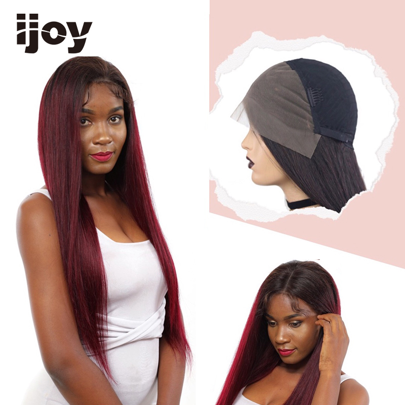 Straight Red Human Hair Wig Lace Wig Ombre 1B 99J With Baby Hair 4x13 Lace Front Non-Remy Brazilian Hair Colored Wig 12-26