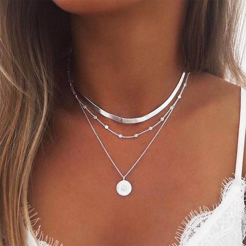 Модное ожерелье в виде лотоса, многослойное колье из сплава серебристого цвета, трехслойное ожерелье с цепочкой, женское ожерелье, ювелирны...