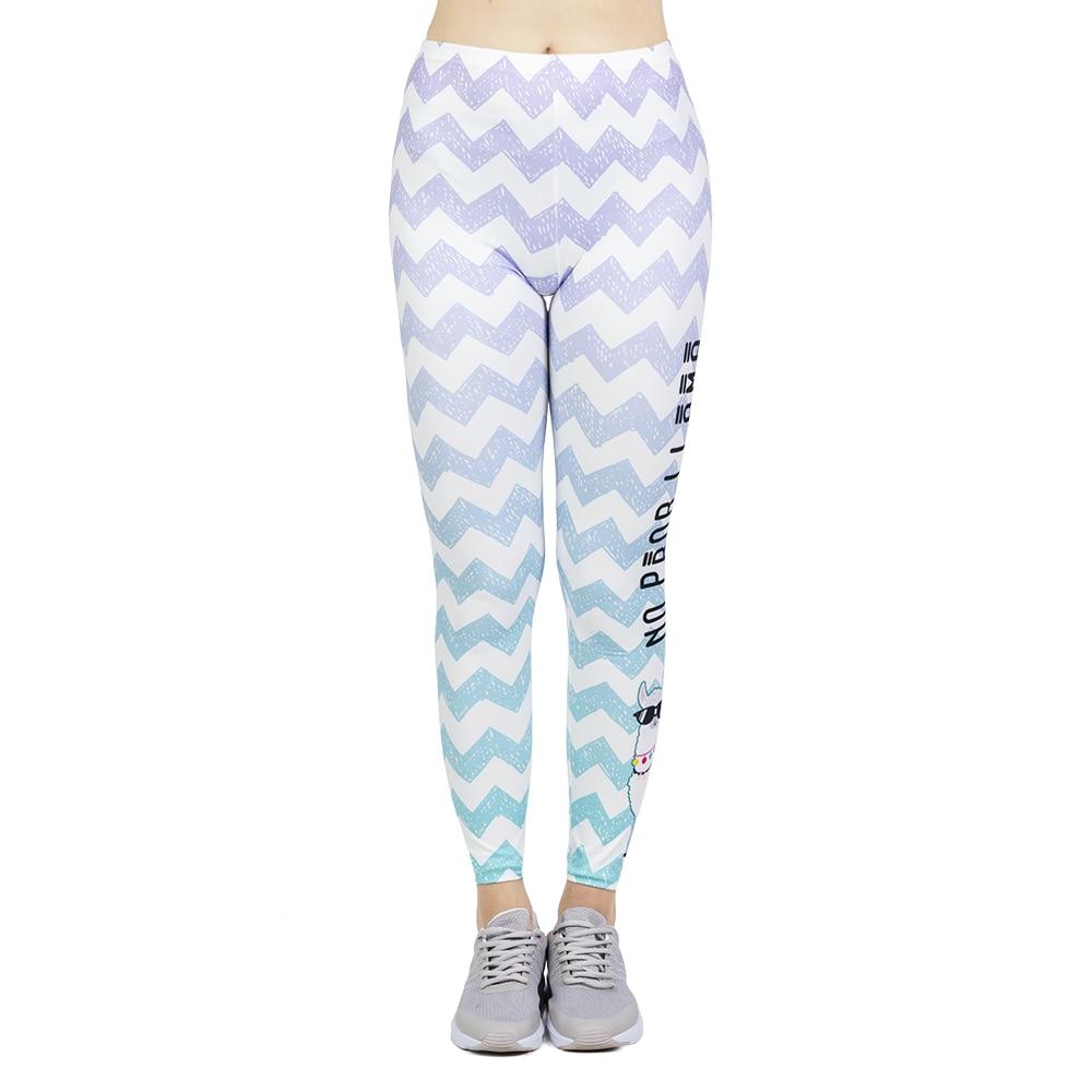 New Leggins Mujer White Stripe Printing Legging Feminina Leggins Fitness Woman High Waist Pants Workout Leggings