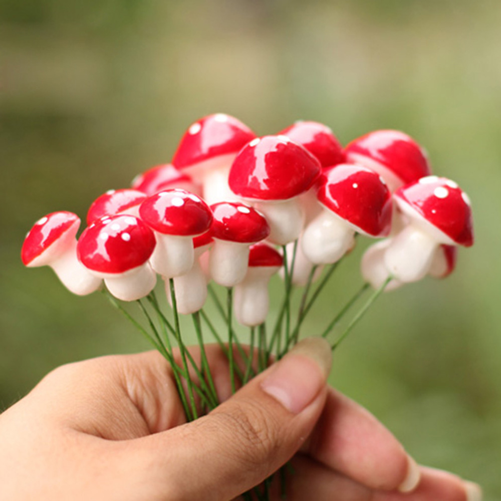 20pcs Kawaii Resin Crafts Decoration Mushroom Fairy Garden Miniatures Accessories Micro Landscape Bonsai Plant Inserted Ornament