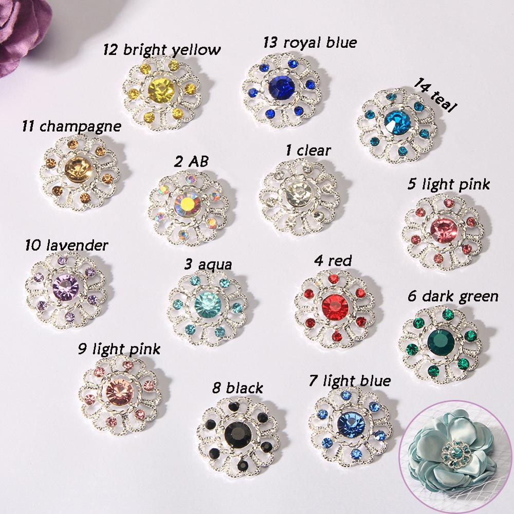10Pcs Flatback Rhinestones Flowers Buttons for Crafts Embellishments Decor 25 mm