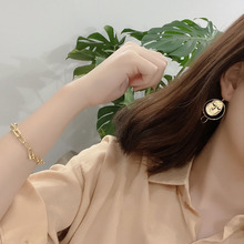 Japan and Korea fashion simplicity high quality sterling silver 925 women's gold and silver face earrinags jewelry