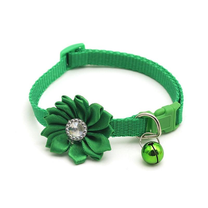 Ошейник для питомца собаки колокольчик цветок ожерелье ошейник для маленькой собаки щенок Пряжка ошейник для кошки колокольчик цветок товары для питомцев аксессуары для собак - Цвет: Green