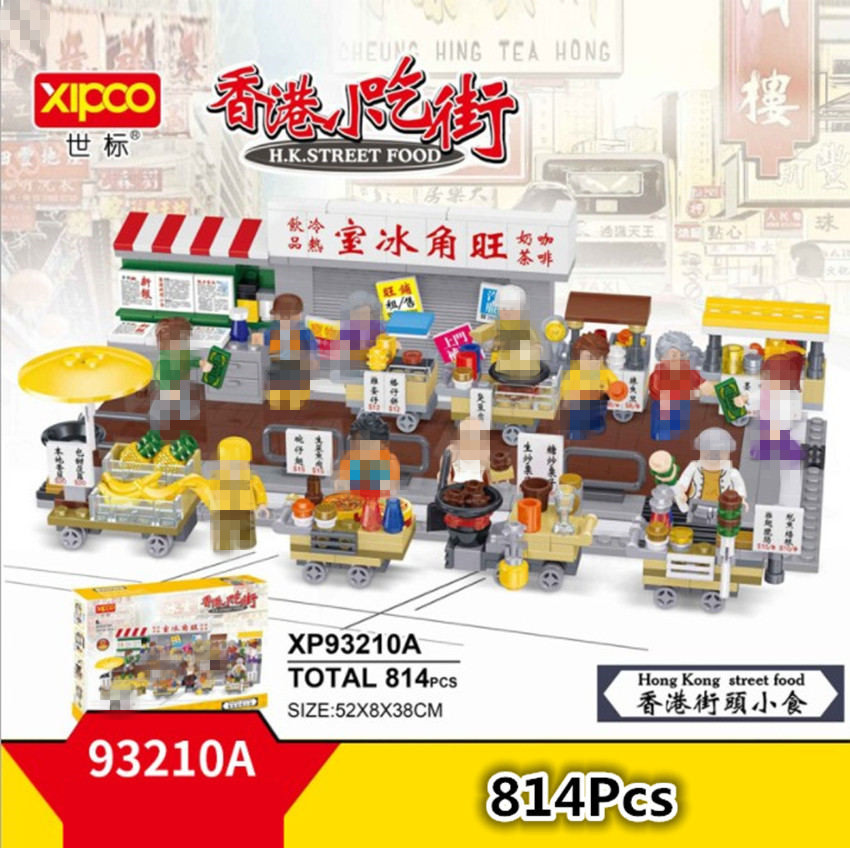 xipoo mini hong kong rua alimentos vista blocos de construcao diamante brinquedo fishballs frutas tenda churrasco