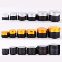 20pcs 5g 10g 20g 30g 50g Empty Amber Glass Jars Containers Cosmetic Cream Lotion Powder Bottles Pots Travel Container Gel Box