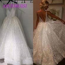 ANJURUISI Sexy Deep V Neck A Line Wedding Dress 2019 Backless Spaghetti Straps Shiny Bridal Simple Vestido De Noiva Gelinlik
