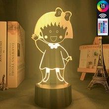 ILight sklep z pamiątkami Anime lampa Chibi Maruko Chan do wystroju pokoju lampka nocna Rgb kolorowe lampy biurko Chibi Maruko Chan Manga prezent