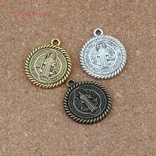 30pcs/lots Saint St Benedict de Nursia pattern Medal Religion Charm pendant Beads 31X36mm Antique silver /gold/bronze A-556