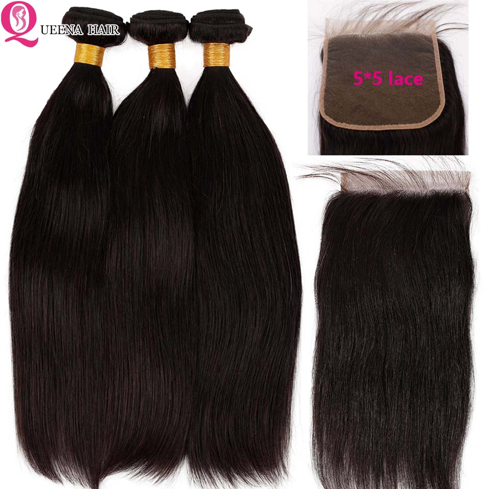 5x5 Closure With Bundles Straight Hair Bundles With Closure 5x5 Lace Closure With 3 Bundles Remy Peruvian Human Hair Pre Plucked