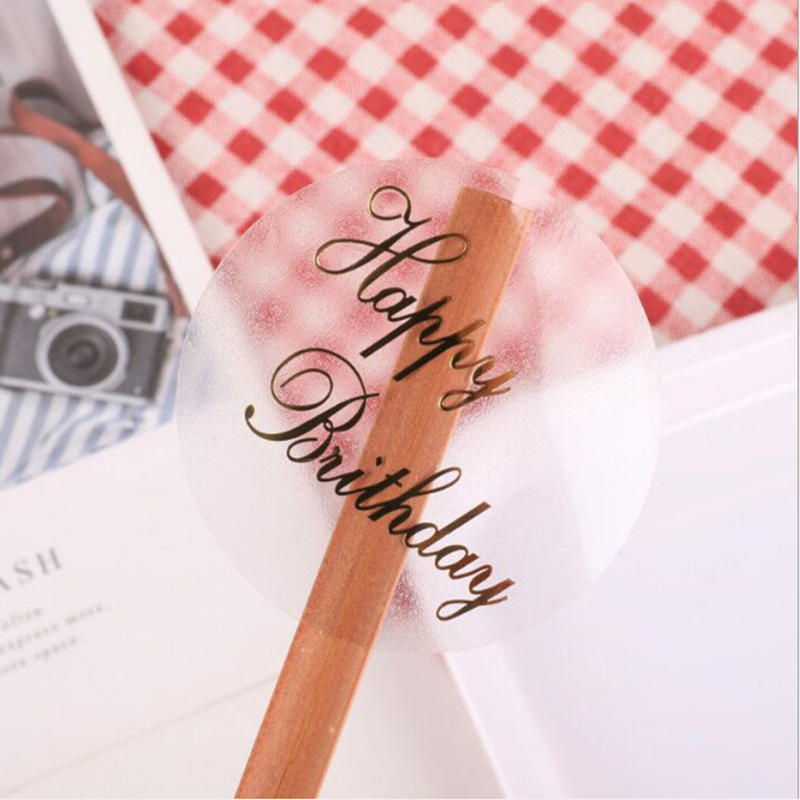 60pcs Transparent Stickers Adhesive Happy Birthday Sticker Seal Labels Round PVC Sticker Sealing Labels Gift Box Cake Packaging