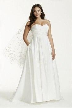 2020 New Strapless Ruched Empire Waist Plus Size Wedding Dress Beautiful Simple Bridal Dresses vestidos de noiva bowknot plus size empire waist skater dress