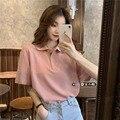 Летние 2021 Новый корейский стиль анти-старения розовая рубашка-Поло свободные универсальные половина-Длина топ с длинными рукавами в студен...