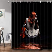Fashion Sexy Woman Shower Curtains Pretty Tattoo Girl with Violin in Black Fabric Shower Curtain