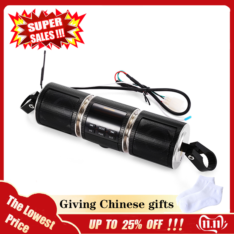 OllyMurs MT487 12V Black Motorcycle MP3 Music Player Bluetooth Stereo Speaker FM Radio With LED Display Waterproof XL-63