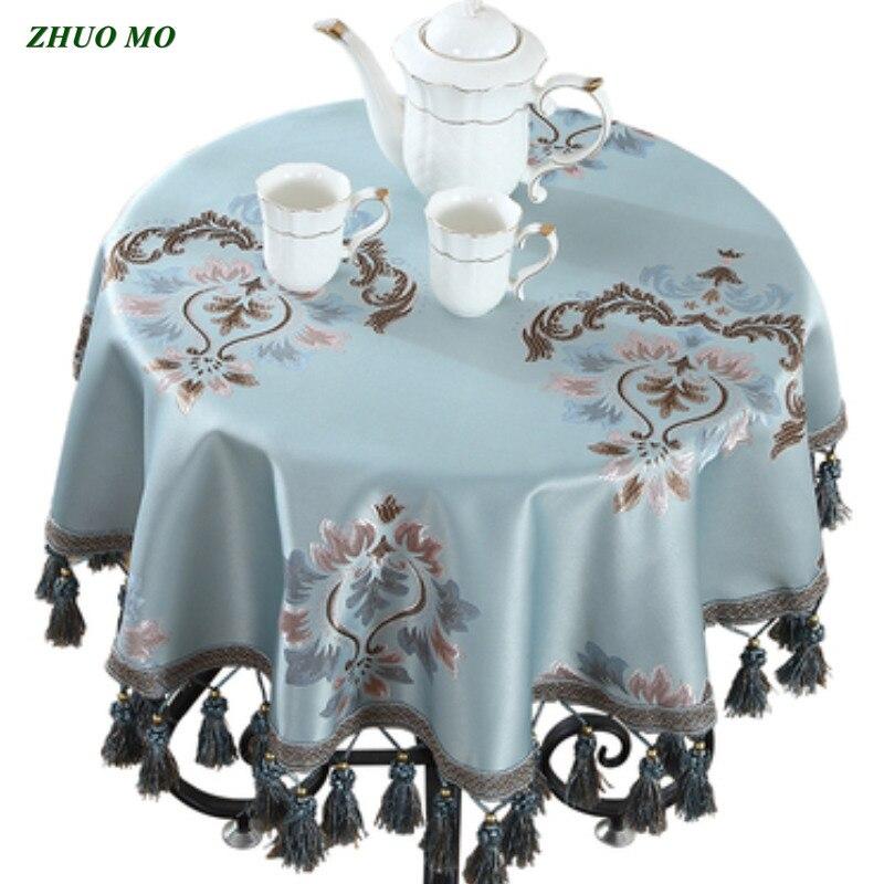 Mantel de borla Europea tela suave azul decoración de boda accesorios de cocina para el hogar sala de estar CASA DE CAFÉ cubierta de mesa