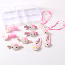 4-10pcs/set Hot Sale Hello Kitty Hair Clips For Girls Acrylic Snap Clip Pink/Red Hairpins Hairgrips Kawaii BB