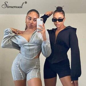 Simenual Casual V Neck Fashion Autumn Corset Hoodies Long Sleeve Women Solid Bodycon Sweatshirt Sporty Street Style Crop Tops