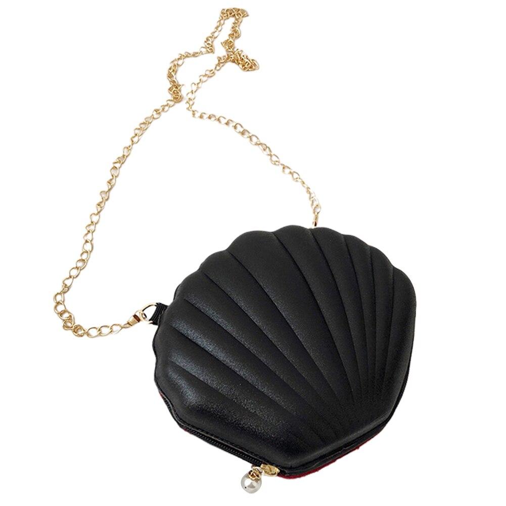 Women Fashion Messenger Shopping Mini Shoulder Cute Crossbody Bag Party Metal Chain Shell Shaped Zipper Closure Bling Sequins