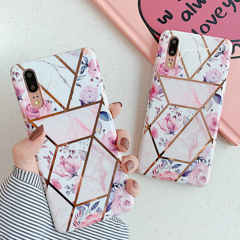 Marble Cute Pink Flower Phone Cases For Huawei Mate 30 Mate 20 P30 P20 Pro Lite Cover Plating Soft IMD Back Funda Gift Coque