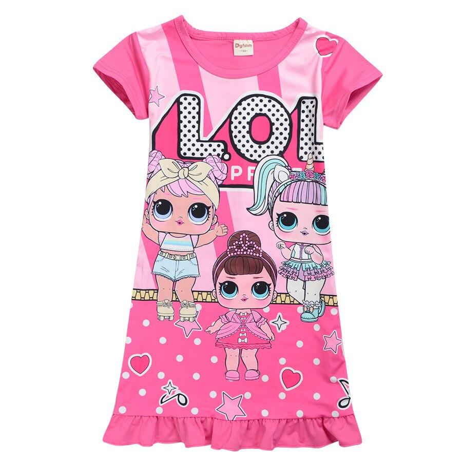 Summer Baby Kids Casual Home Wear Doll Clothes Children Vestido Toddler Girls Lol Dress For Girl Cartoon Print Pajamas Dresses