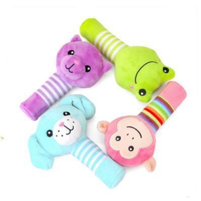 Cute Cartoon Stripes Small Animal Rattle Shou Yao Bang Puppy Frog Monkey BB Rod Baby Toys