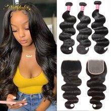 Mèches brésiliennes Remy Lace Closure Nadula Hair, cheveux naturels, Body Wave, en lot