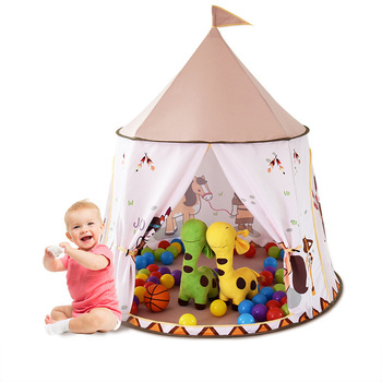 Children's Tent Indian Pony Play House Ocean Ball Pool Baby Toy Gift Princess Castle Present Hang Flag Teepee