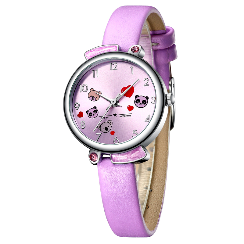 Kids Watch KDM 2019 Fashion Casual Student Girl Boy Watch Cute Cartoon Panda Waterproof Genuine Leather Watch For Kids Children