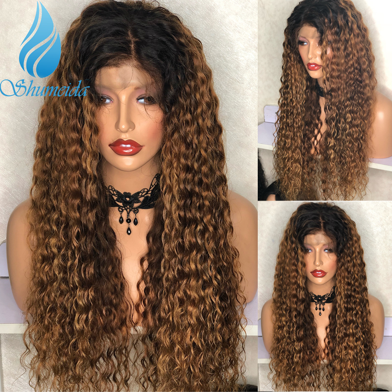 SMD 13*6 Ombre Brown Curly Hair Lace Front Wigs With Baby Hair 150% Density Brazilian Remy Human Hair Glueless Lace Wigs