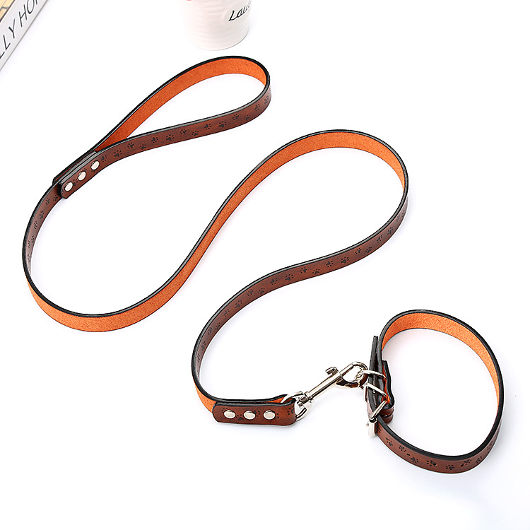 Pet Traction Rope Dog Neck Ring Traction Two-Piece Set Solid Color Hide Substance Paw Prints