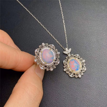 Natural Big Opal Gemstone Ellipse Ring and Necklace Two-piece Suite for Women Real 925 Sterling Silver Fine Jewelry Set kjjeaxcmy fine jewelry 925 sterling silver plated white gold ring pendant deep amethyst necklace set ladies two piece suit
