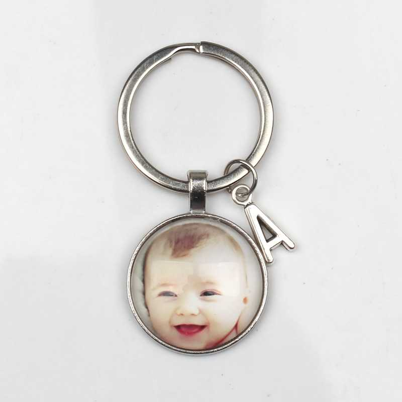 Personalizado Foto Pingentes ABC Chaveiro Personalizado Da Foto Do Bebê Mãe Filho Pai Avô Amado para Membro Da Família Presente atacado