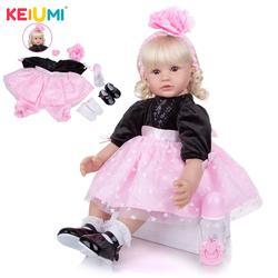 Keiumi 24 Polegada feito à mão cachos de ouro reborn silicone bonecas pano corpo boneca reborn menina princesa bonecas brinquedo para presentes aniversário do miúdo