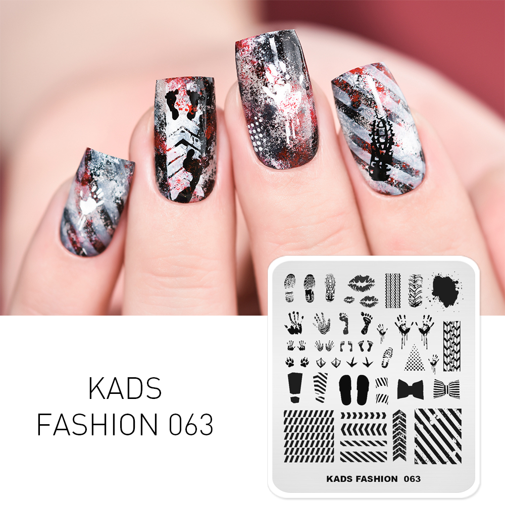 KADS Nail Art Stamping Plate 63 Designs Fashion Series Manicure Stamping Plates Image Template Nail Stamp Plate Print Stencil
