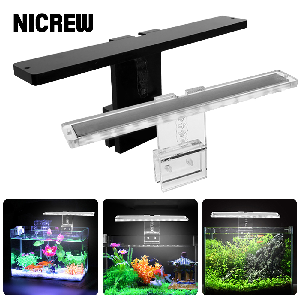 NICREW Aquarium Lamp LED Plant Light Fits Tanks 3-8MM Thickness Aquatic Lamp Aquarium Bracket Light