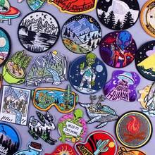 Reise Embriodery Patch UFO Alien Eisen Auf Patches Für Kleidung Berg Aufkleber Erkunden Natürliche Berg Flecken Auf Kleidung