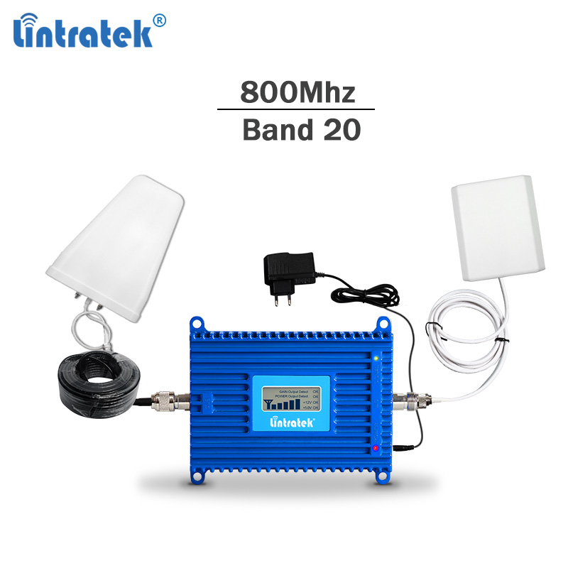 Lintratek Band 20 Signal Repeater 4G 800Mhz Booster LTE Signal Amplifier 800MHZ Repeater AGC 70dB Internet Booster Band 20