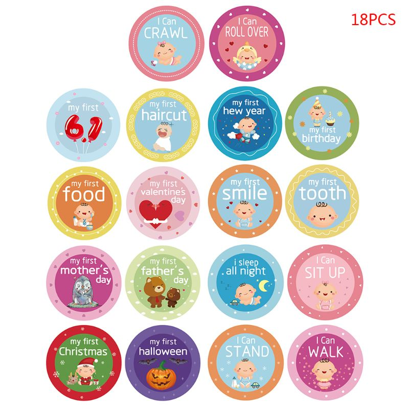 18 Pcs/set Baby Sticker Boys Girls Cute Photography Props Record Baby Skills Festival Holiday Stickers  Child Toy BSN